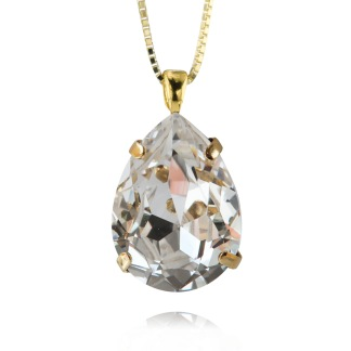 Classic Drop Necklace - Crystal Guld