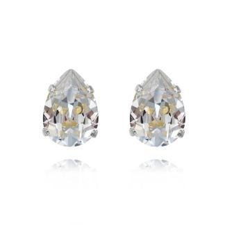 Mini Drop Stud Earrings - Crystal Silver