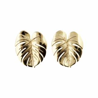 PALM LEAF EARRINGS GOLD L - PALM LEAF EARRINGS GOLD L
