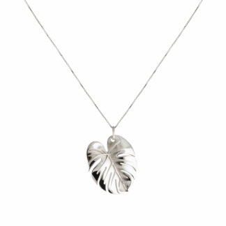PALM LEAF NECKLACE SILVER L