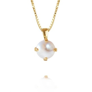 CLASSIC PETITE NECKLACE/PEARL - PEARL GOLD