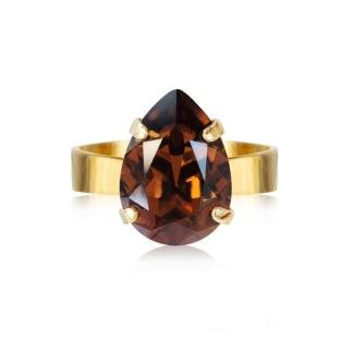 Mini Drop Ring / Smoked Topaz - Mini Drop Ring / SmokedTopaz Gold