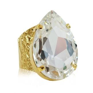 Perfect Drop Ring / Crystal - Crystal Gold