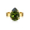 Mini Drop Ring / Smoked Topaz - Mini Drop Ring / Olivin gold