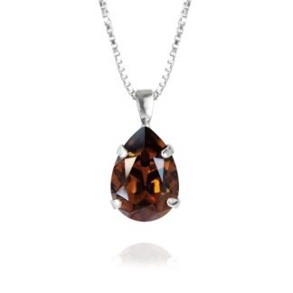 Mini Drop Necklace - Smoked Topaz Silver