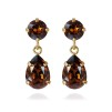 Mini Drop Earrings - Smoked Topaz Guld