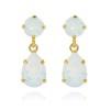 Mini Drop Earrings - White Opal Guld