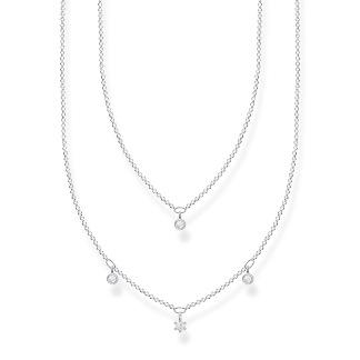 Halsband Dubbelt silver med vita stenar - Halsband Dubbelt silver med vita stenar