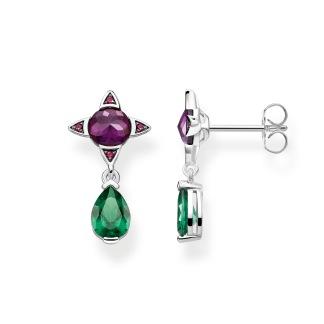 örhängen Grön droppe med lila sten - örhängen Grön droppe med lila sten
