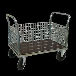 Plattformsvagn 603-ZNP med hög nätsarg plywood - Plattformsvagn zinkad 603-7-z-nät-plywood