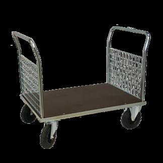 Plattformsvagn 602-ZNP med 2 nätgavlar plywood - Plattformsvagn zinkad 602-7-z-nät-plywood
