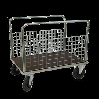 Plattformsvagn 606-ZNP med 2 nät långsidor plywood - Plattformsvagn zinkad 606-7-z-nät-plywood