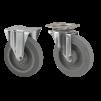 750 Rullcontainer - Grå elastic Ø 200 mm 2 st länk med broms, 2 st fast