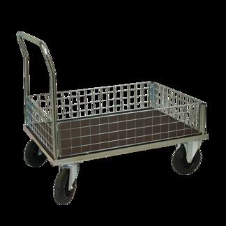 Plattformsvagn 607-ZNP med låg nätsarg plywood - Plattformsvagn zinkad 607-7-z-nät-plywood
