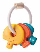 Leksaksnycklar i trä, Baby key rattle, ekologisk