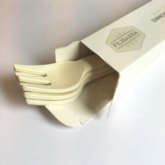 Gafflar i bambu, 4-pack - vit