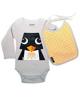 Body och haklapp, pingvin - stl 6 mån