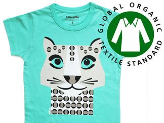 T-shirt snöleopard, ekologisk - stl 3-4 år