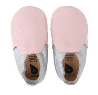 Bobux skinntofflor rosa med silver prickar - stl L (15- 21 mån)