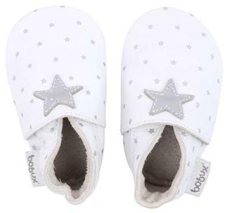 Bobux skinntofflor vita med silverstjärnor - stl S (3-9 mån)