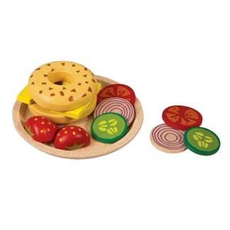 Leksaksmat i trä, ostsmörgås med tillbehör, ekologisk -