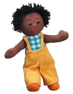 Mjuk docka, mörk brun pojke med svart hår, fairtrade -
