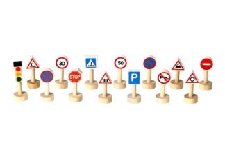 Set trafikskyltar och ljus -