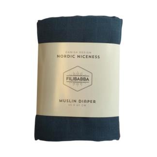 Tygblöja/snuttefilt Muslin - Mörkblå 3-pack