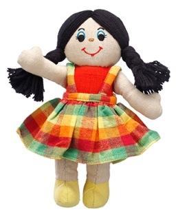 Mjuk docka, ljus med svart hår, fairtrade -