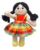 Mjuk docka, ljus med svart hår, fairtrade