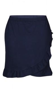 Knälång kjol med volang - M (46/48)