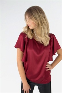 Claudine Blouse Maroon Red - M