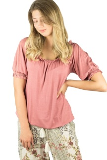 Amory top peach rose - S