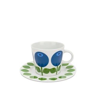 Kaffekopp med fat 25 cl, Blåbär -