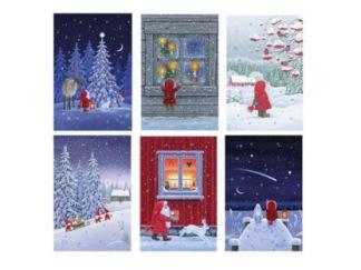 Kalenderkort God Jul - Natt tomte m lykta vid gran