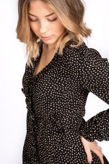 Paris blouse, black/camel - S