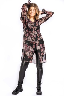 Cosette Shirt Tunic Svart/rosa/Sand - L