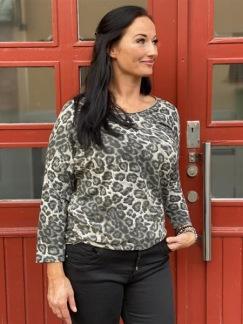 Denise sweatshirt med leoprint, taupe -