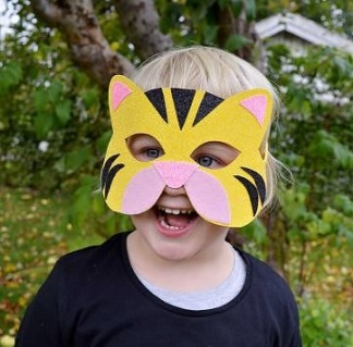 Maskeradmask glitter djur - Tiger