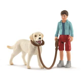 Promenad med Labrador Retriever, Schleich -