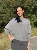 TILDA Stickad tröja med pingvinärm, grå