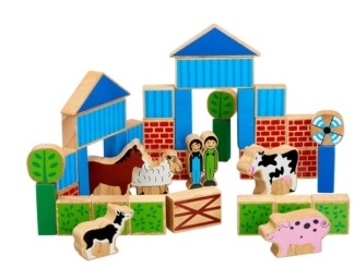 Byggklossar bondgårdsdjur, trä -