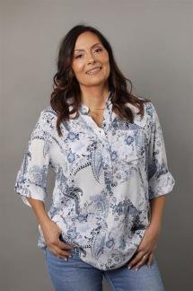 AMINA Mönstrad blus med knappslå, vit -