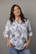 AMINA Mönstrad blus med knappslå, vit