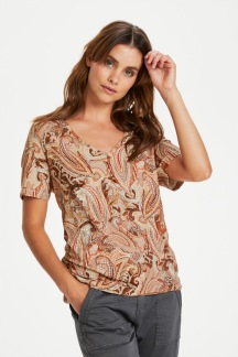 CRLulla T-shirt, Rose Brown Paisley - S