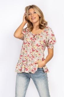 Clara blouse peach coral/creme - S