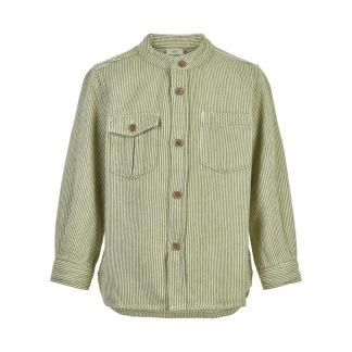 Bomullsskjorta l/s, grön - 98