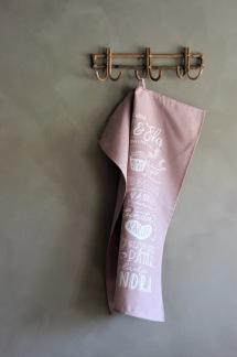 Handduk, kärlek och fika, rosa - Rosa