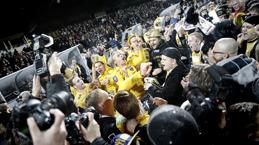 Falkenbergs FF upp i Allsvenskan ! Historisk bild från matchen där Falkenbergs FF tog sig upp i Allsvenskan för första gången - när kommer nästa gång?