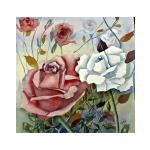 Rosenmålning, 40x40 cm,  SEK 1,500